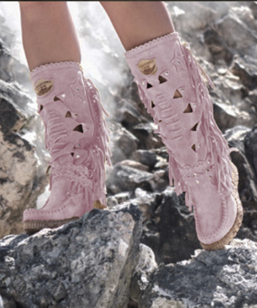 EL VAQUERO Squaw Silverstone Cipria Pink Leather Wedge Moccasin Boots