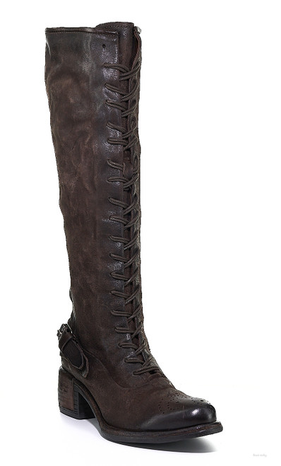 A.S.98 ORVILLE FONDENTE BROWN KNEE HIGH LACED LEATHER BOOTS