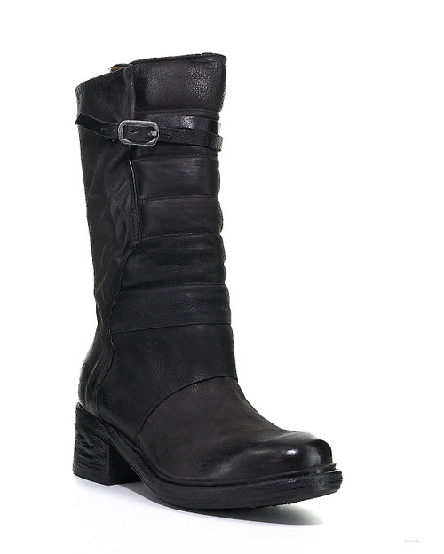A.S.98 NISSA NERO BLACK LEATHER BOOTS