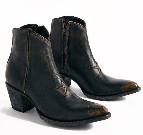 """BL2212-16 Mexicana Lone Star Black Gold  6"""" Distressed Ankle Leather Boots"""