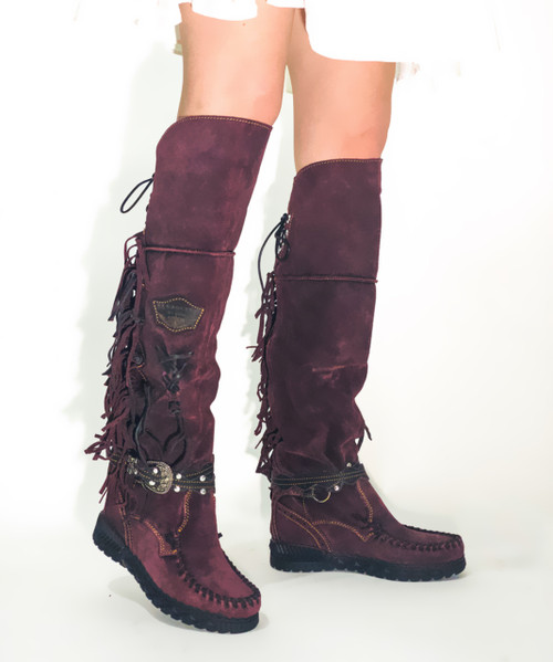 EL VAQUERO Delilah Silverstone Wine Leather Wedge Moccasin Boots