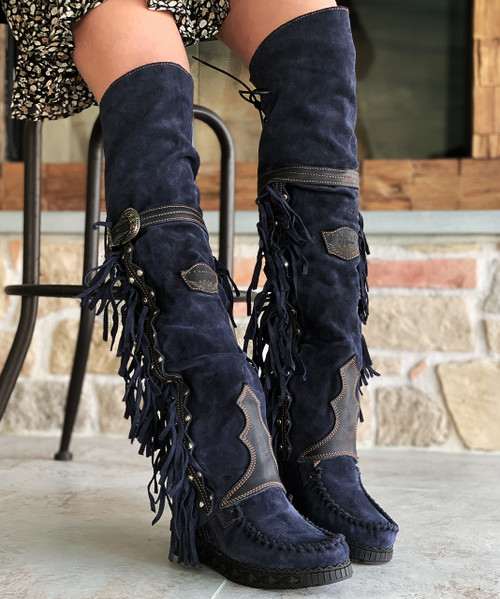"""EL VAQUERO Coleen Drifter Silverstone Aster Navy Black Accents Wedge 18"""" Moccasin Boots"""