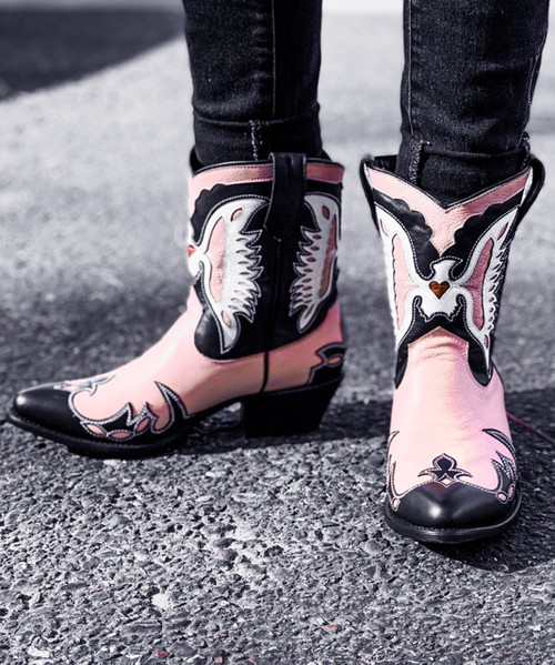 DL1002-12 MEXICANA DRAGON PINK BLACK WHITE LEATHER ANKLE BOOTS