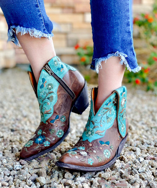BL3186-1 OLD GRINGO Cate Brown & Turquoise Floral Shortie Boots