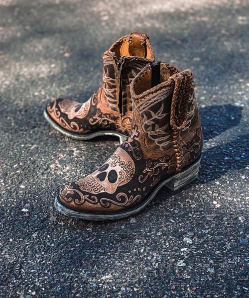 L3490-1 OLD GRINGO KLAK POLO CHALE  ANKLE BOOTS (Babaria Toe/FL Heel)