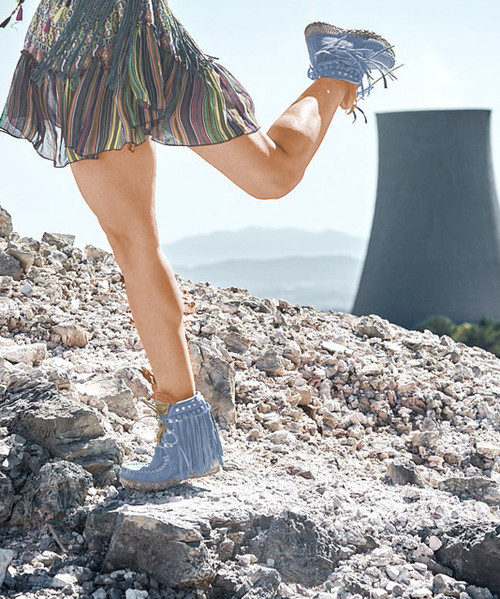 EL VAQUERO May Silverstone Sky Blue Fringe Ankle Boots