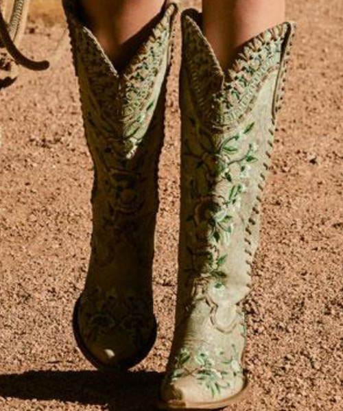 "DDL026-3 DOUBLE D RANCH ALMOST FAMOUS VINTAGE ICE EMBROIDERED FLORAL TALL 17"" BOOTS"