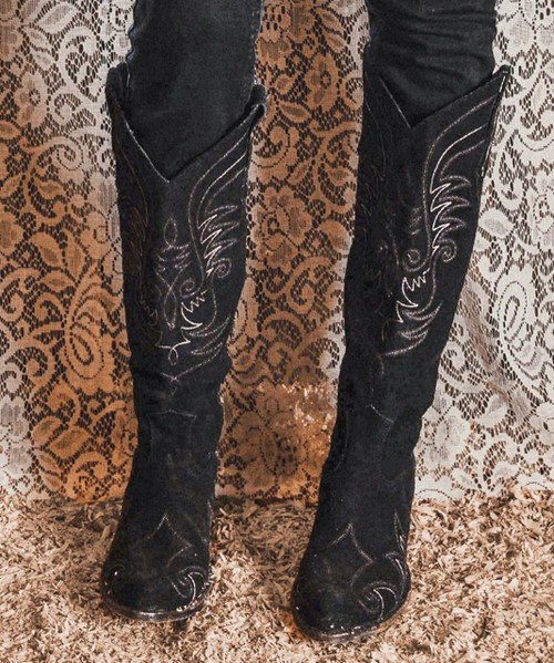 DDL036-2 DOUBLE D RANCH LONG TALL SALLY MIDNIGHT BLACK BRUSHED LEATHER BOOTS