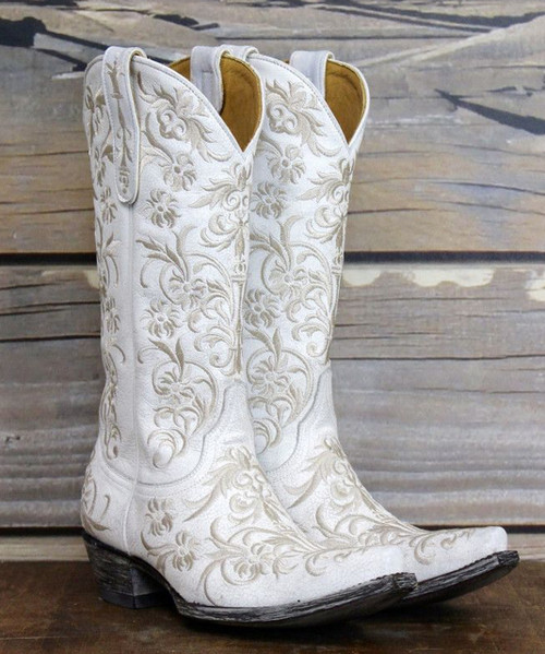 "L1266-8 OLD GRINGO CLARISE CRACKLED WHITE EMBROIDERED 13"" LEATHER BOOTS"