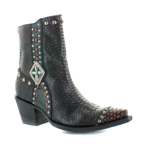 DDBL045-1 DOUBLE D RANCH FOUR WINDS SHEDRON BROWN SNAKE PRINT LEATHER ANKLE BOOTS