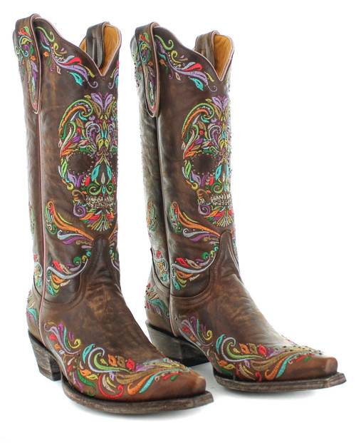 """L3191-2 OLD GRINGO DULCE CALAVERA SKULL VESUVIO BRASS CRYSTAL BEADED 13"""" EMBROIDERED LEATHER WOMEN'S BOOTS"""