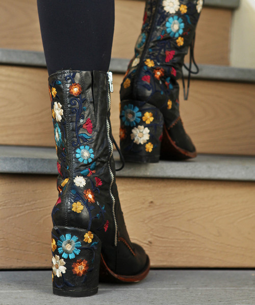 """L3248-1 OLD GRINGO CATE HIGH HEEL GRANNY LACE UP 10"""" LEATHER BOOTS"""