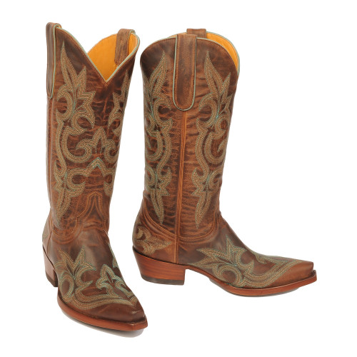 L 113-13 Old Gringo Women's DIEGO Brass Turquoise Stitching Snip Toe Boot