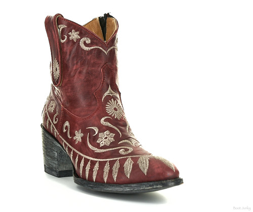 "L2391-2 OLD GRINGO PACIENCIA VESUVIO RED EMBROIDERED 7"" LEATHER ANKLE BOOTS"