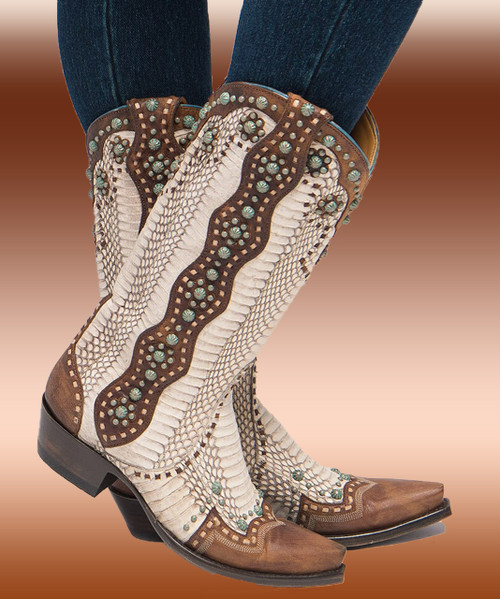 "L3195-3 OLD GRINGO CHERYL COBRA BRASS TURQUOISE RIVETED 13"" LEATHER BOOTS"