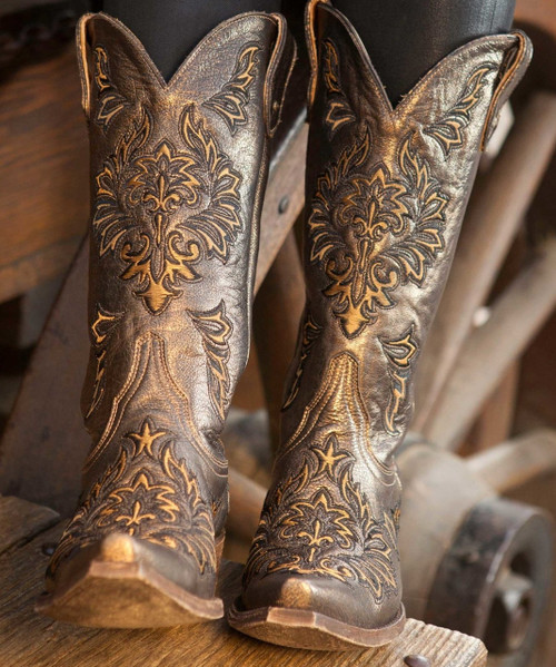 "L3249-2 OLD GRINGO DUNKEN BRONZE GOLD METALLIC FLORAL 13"" LEATHER BOOTS"