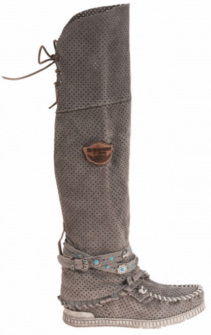 EL VAQUERO Beatrix Drainer Taupe Tall Leather Wedge Moccasin Boots