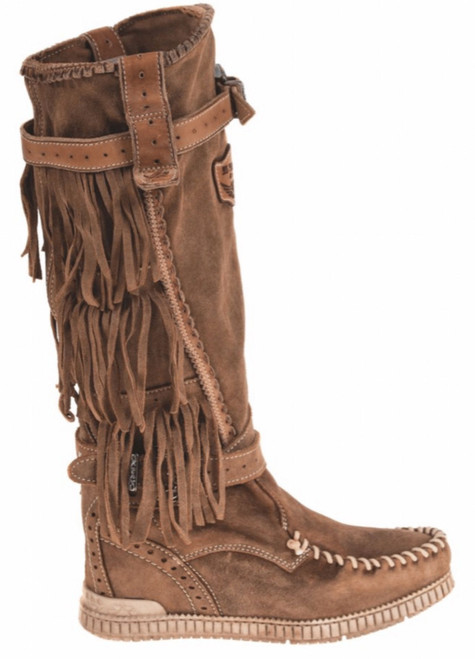EL VAQUERO Jackie Wornout Mou Leather Wedge Moccasin Boots