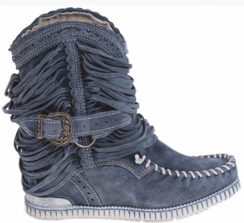 EL VAQUERO Julie Silverstone Wornout Navy Fringe Leather Boots