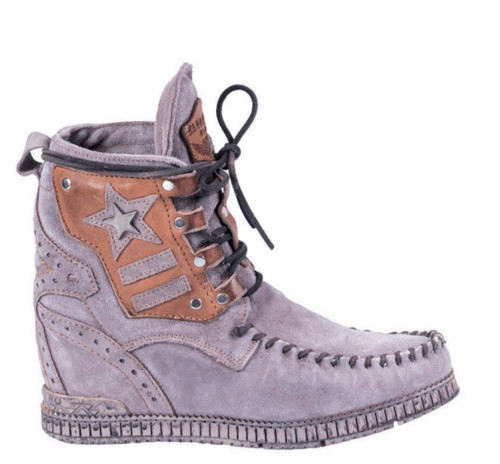 EL VAQUERO Casey Primus Petra Grey Leather Wedge Moccasin Boots