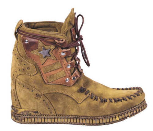 EL VAQUERO Casey Primus Kaki Leather Wedge Moccasin Boots