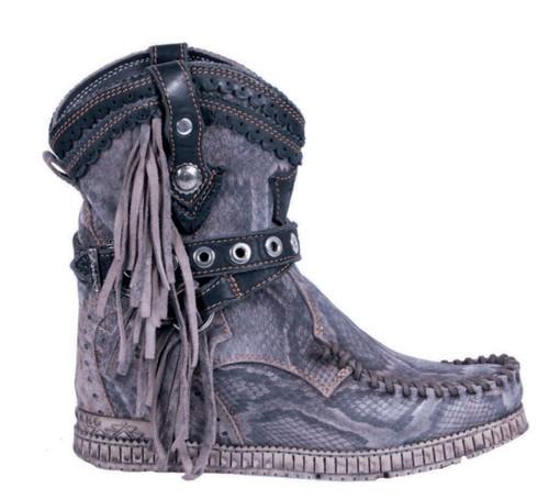 EL VAQUERO Arya Mocc Reptile Rock Wedge Moccasin Boots