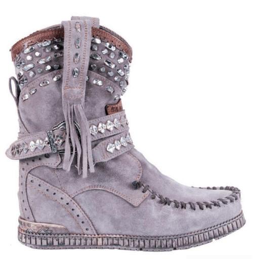 EL VAQUERO Yara Primus Petra Grey Silver Wedge MoccasinLeather Boots