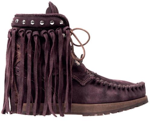 EL VAQUERO May Clip Wornout Bordeaux Purple Fringe Ankle Boots