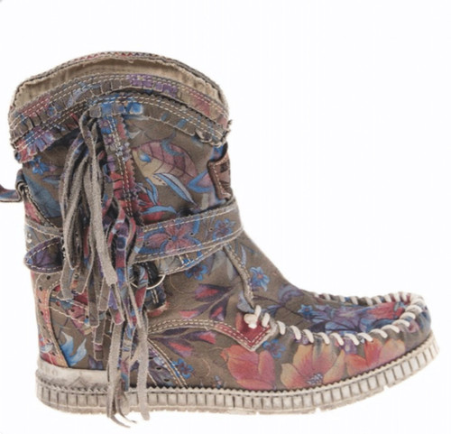 EL VAQUERO Arya Mocc Freedom Flower Floral Wedge Moccasin Boots