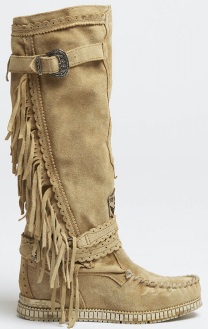 EL VAQUERO Justine Silverstone Grain Leather Wedge Moccasin Boots