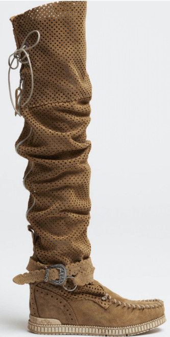 EL VAQUERO Maleficent Punch Mou Carmel Leather Wedge Moccasin Boots