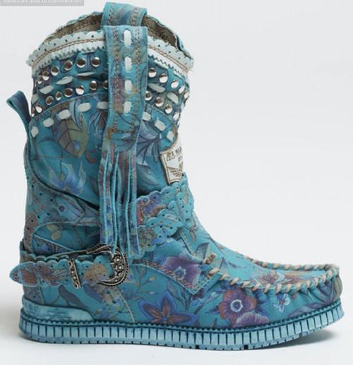 EL VAQUERO Yara Freedom Sky Turquoise Wedge Moccasin Boots