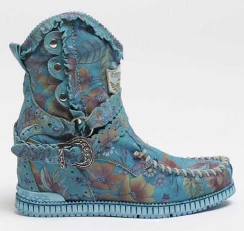 EL VAQUERO Zola Freedom Sky Turquoise Leather Wedge Moccasin Boots