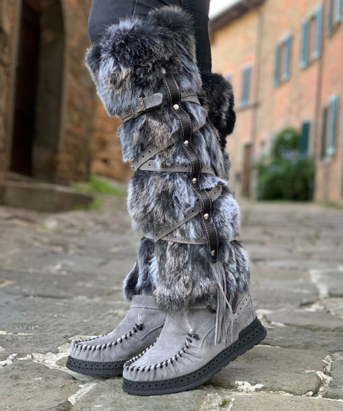 EL VAQUERO Lagertha Fur Silverstone Plomo Tall Leather Moccasin Boots