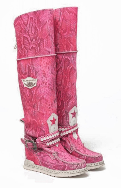 EL VAQUERO Huntress Desnake Neon Fuxia Tall Boho Wedge Moccasin Leather Boots