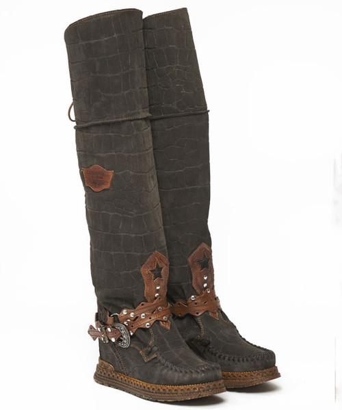 EL VAQUERO Huntress Crocus Turf Tall Boho Brushed Leather Boots