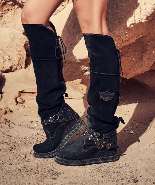 EL VAQUERO Huntress Silverstone Carbon Black Tall Boho Brushed Leather Boots