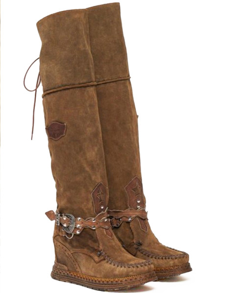 EL VAQUERO Huntress Silverstone Tobacco Tall Boho Brushed Leather Boots