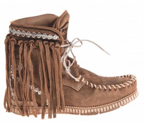 EL VAQUERO Tracy Wornout Mou Fringe Ankle Boots