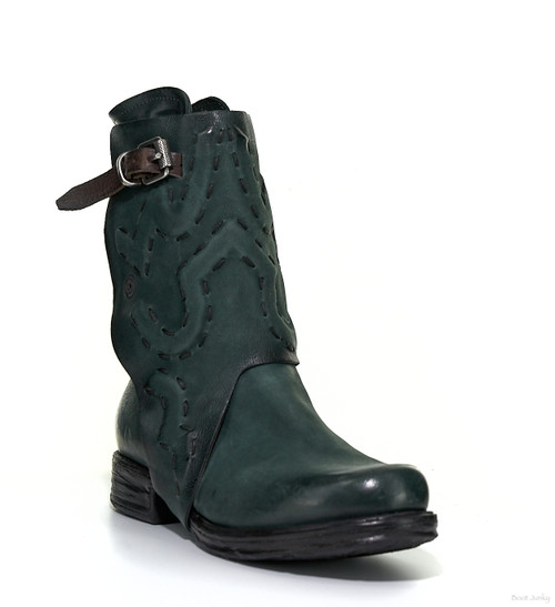 A.S.98 SANNI BALSAMIC GREEN LEATHER ANKLE BOOTS