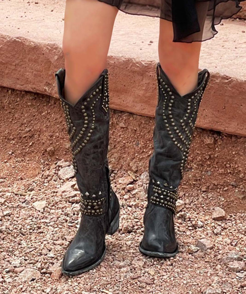 """L 903-10 RELAXED FIT OLD GRINGO BELINDA GALAXIA BLACK 18"""" TALL COWGIRL BOOTS"""