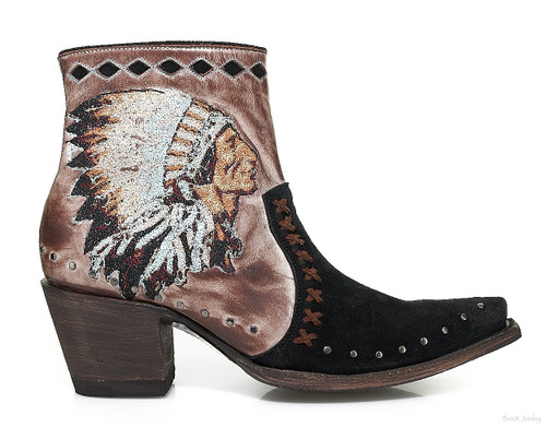 YBL 452-2 OLD GRINGO MABELL DISTRESSED BLACK WASHED TAUPE CHIEF ANKLE BOOTS
