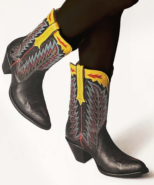 """YL 445-1 Old Gringo Yucatan Black Yellow 11"""" Ladies Leather Boots"""