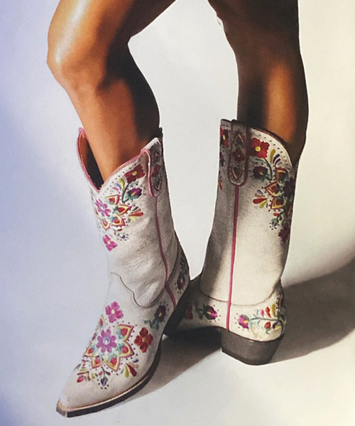 """YL 454-2 Yippee Ki Yay by Old Gringo Ladies Carmesa Crackled Taupe Multi 13"""" Leather Boots"""