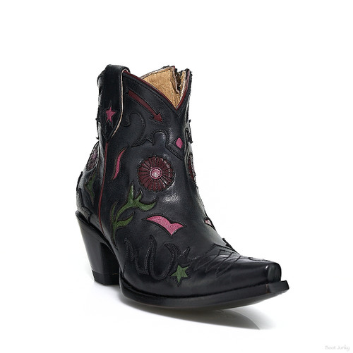 "YBL 437-2 OLD GRINGO KAYLA BLACK MULTI  6"" LEATHER ANKLE BOOTS"