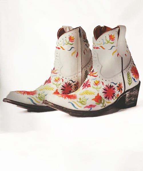 "BL3455-1 OLD GRINGO SUMMER SOUL WINTER WHITE MULTI EMBROIDERED 7"" LEATHER ANKLE BOOTS"