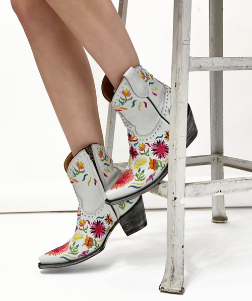 """BL3455-1 OLD GRINGO SUMMER SOUL WINTER WHITE MULTI EMBROIDERED 7"""" LEATHER ANKLE BOOTS"""