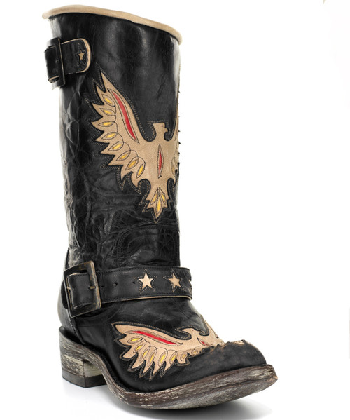 "L 816-2 MEXICANA BY OG BIKER EAGLE STAR VESUVIO BLACK BONE RED YELLOW 10"" BIKER BOOTS"