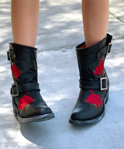 """L1105-1 MEXICANA SECOND HAND FLOWER VESUVIO BLACK RED FLORAL EMBROIDERED 8"""" BIKER BOOTS"""