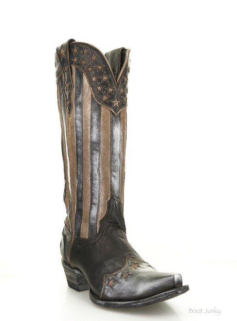 """YL 470-1 Yippee Ki Yay by Old Gringo Bloom Black Fusil Patriotic 15"""" Leather Boots"""